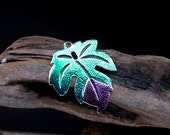 Enameled Green Leaf Pendant for Necklaces - Brass plated Charm Flower - Jewelry Supplies