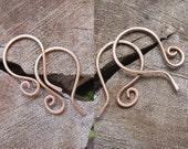 2 pr Copper Earwires, Rustic Hand Hammered Earwires Supplies, 20 gauge wire  Handmade Ear Wires - Copper Findings - Artisan EArwires