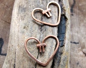 2 Copper Heart Dangles - Handmade Heart Dangles for earrings - Heart Charms - Tiny Hearts - Small Hearts. Copper Hearts - Artisan Supplies