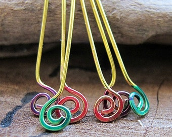 Enameled Pure Brass Hammered Swirl Headpins 22 gauge, Red, Green, Purple, Handcrafted Jewelry Supplies - Spiral Eay Pins - Handmade Findings
