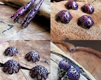 Purple Filigree Jewelry Findings Set. Trumpet Caps, Flower Bead Caps, Purple Hollow Beads, Filigree caps enamel findings - Bead Sets