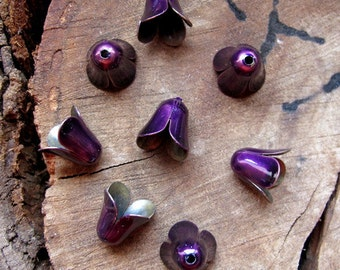 Purple Flower Petal Bead Caps. 8 Enameled Bead Caps Set. Handmade Enamel Findings. Bells Earrings supplies - Flower Caps - Artisan Findings