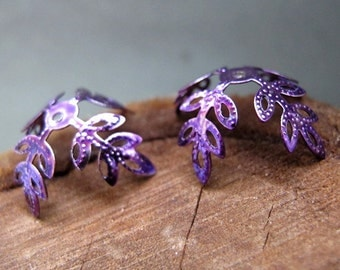 Large Focal Bead Caps. Enamel Leaves Filigree Bead Caps. Leaf Shape Purple Bead Caps - Handmade Findings - Artisan Leaf Caps