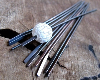 Patina Hammered Copper Head Pins set. Slim Long Bars. Dangle Sticks for earrings. Handmade Jewelry Findings Black Headpins Flat End Paddles
