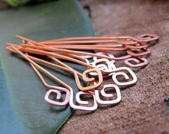 22g Copper Square Spirals Headpins Set - 15 pcs Hammered swirl head pins. Earrings Supplies. Jewelry Findings - Artisan Head Pins - Eye Pins