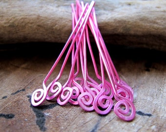 Swirly Spiral Pink Headpins set. 22 gauge Enameled copper Head Pins. Eye pins Handmade Supplies - Eye Pins Set. Artisan Findings. Top Swirls