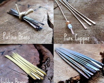 Gorgeous Head Pins Set. Patina Brass, Pure Copper, Golden, Patina Copper Sticks. Hammered 20 gauge headpins