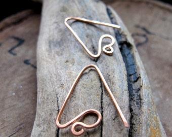 Triangle Copper Ear Wires 20ga. Curve Hook Earwires Earrings & 2 Loops. Hammered Jewelry Findings - earrings - Unique Earrings Components