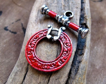 Red Enamel Toggle Clasp - Artisan Necklace Clasp, T Bar Bracelet Clas, Silver Plated Jewelry Supplies