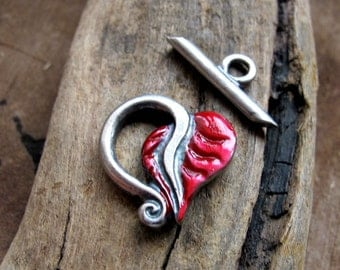 Red Enameled Toggle Clasp - Antique Silver Leaf Clasp for Necklace, Bracelet - Heart Toggle Clasp / Handmade Clasps Bracelet Clasps Colored