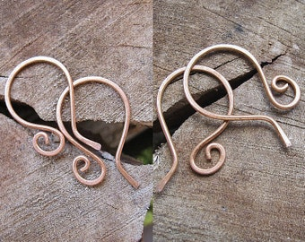 2 pr Copper Earwires, Rustic Hand Hammered Earwires Supplies, 20 gauge wire  Handmade Ear Wires - Copper Findings - Artisan EArwires