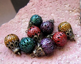 Vintage Bead Dangle Charms - Colorful Drop Dangles - 8 Colored Filigree Beads for Earrings - Bead Dangles. Bead Drop Charms. Earring Dangles