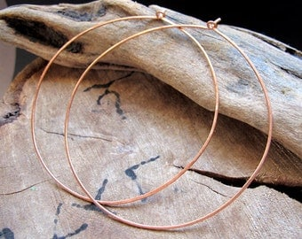 Extra Large Copper Hoop Earrings 3 inch - Big Flat Hoops - Hammered Thin Rounded Ear Wires 75mm. Large Hoops. Fashion Earrings. Big Earrings