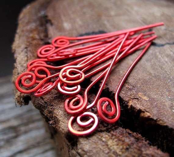 22 gauge Red Spiral Headpins. Enameled Swirl Copper Head Pins. Handmade Spiral Eye pins Headpins
