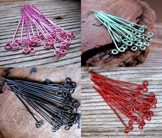 Handmade Head pins 40 pieces. Bow Headpins 22g. Infinity Eye pins enamel copper findings. Red, Black, Pink, Turquoise
