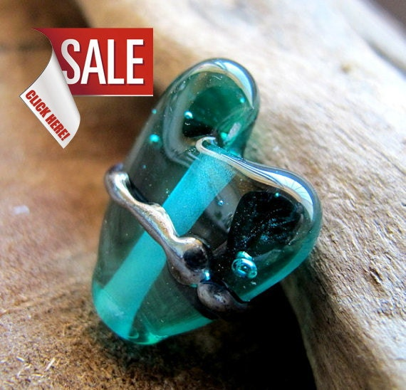 Lampwork Glass Heart Focal Bead. One of a kind Turquoise Love Bead for Pendant, necklaces