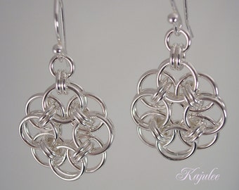 Chainmaille earrings, flower earrings, in sterling silver, chainmail, maille, chain mail