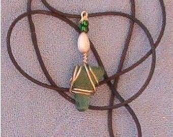 Green Hawaiian beach glass pendant on cord
