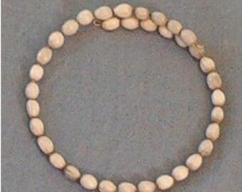 White Hawaiian Job's Tears Choker Necklace - handmade in Hilo Hawaii on memory wire