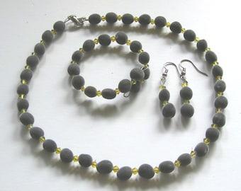 Jewelry set, Hawaiian mgambo seeds and Lime AB Swarovski crystals, handmade in Hilo, Hawaii, HiloBeads