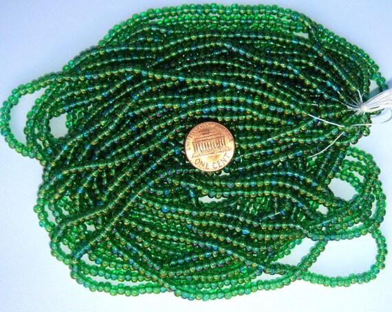 Czech Jablonex Ornela Preciosa seed beads, peridot AB, 6/0, full hank