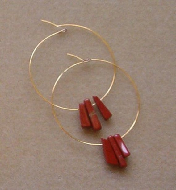 Red Jasper Hoop earrings