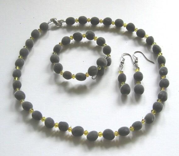 Jewelry set, Hawaiian mgambo seeds and Lime AB Swarovski crystals