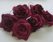 Sale Prima Mulberry Paper Large Rose Burgundy set of 6 flowers for arrangements, wreaths, bouquets and scrapbooks