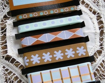 Prima Marketing Azure Ribbons pack - 5 designs - Item 510961 Retail 5.00 Embellishments for scrapbooks, cards, bows