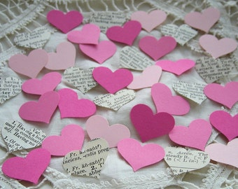 Valentine Love Pink and Vintage Dictionary Hearts Cardstock Die Cuts Set of 5 dozen embellishments for cards, confetti, scrapbooks, tags
