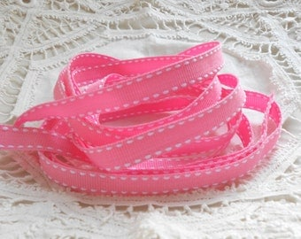 Private Listing Grosgrain Embellishment Ribbon Pink and White Stitched Edges 20 Yards for scrapbooking, cards, sewing