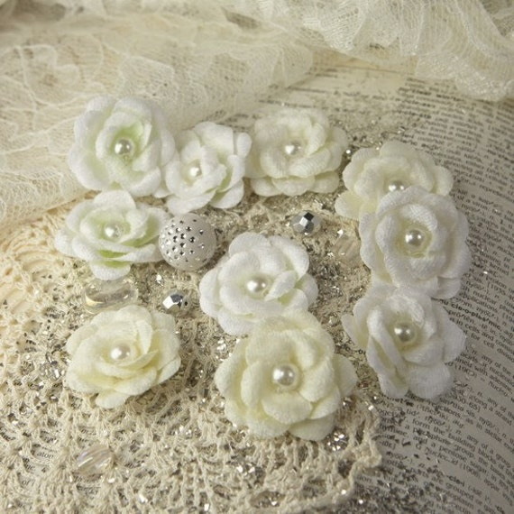 Prima Audrey Rose - Snow - Fabric Roses with Pearl Centers - Item 546670 - Flowers in Velvet - White