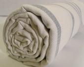 Turkish Bath Towel...PESHTEMAL(101) White-Dark Blue