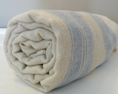 Natural Turkish Bath Towel...SOFT LINEN PESHTEMAL Blue
