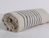 ORGANIC Linen Towel /Beach Towel...LINEN PESHTEMAL Black stripes ..Turkish Towel