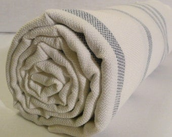 Turkish Bath Towel...PESHTEMAL(101) White-Dark Blue