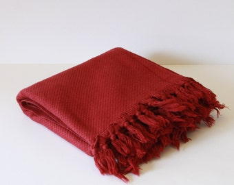 Soft Burgundy Turkish Bath Towel... NEW SPECIAL Peshtemal Burgundy