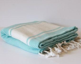 Towel Turquois White,Turkish Bath Towel... NEW Peshtemal