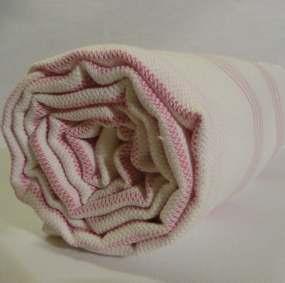 White, pink bath towel..Turkish Bath Towel...PESHTEMAL(205) WHITE-PINK