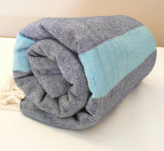 Turkish Bath Towel...PESHTEMAL(303) DARK BLUE-TURQUOISE