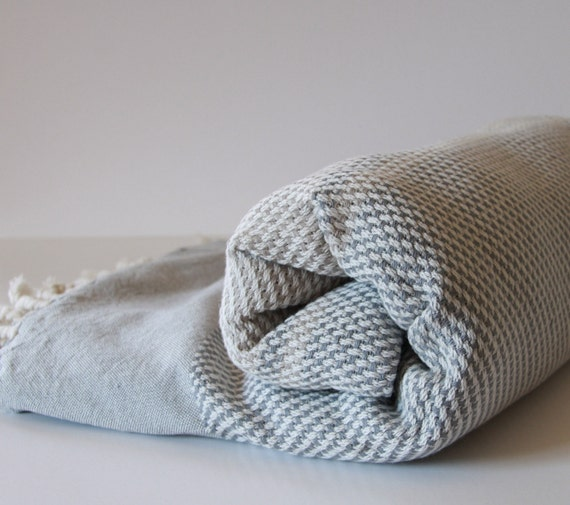 Turkish Bath Towel... NEW Peshtemal Gray White