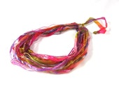 Multistrand Fiber Necklace Textile Necklace in Warm Tones of Pink, Peach, Violet and Gold - Fibernique