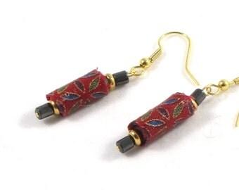 Textile Earrings Fabric Earrings Fiber Earrings Gift for Her Red Earrings Drop Earrings Dangle Earrings Spring Jewelry Green Metallic Gold