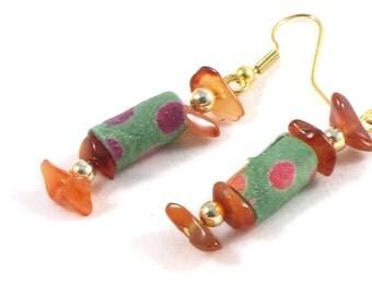 SALE - Textile Earrings Fabric Textile Jewelry Gift for Her Spring Earrings Dangle Earrings Drop Earrings Peach Polka Dots Green OOAK