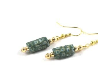 SALE -Textile Earrings Fabric Gift for Her Green Jewelry Spring Earrings Dangle Earrings Drop Earrings Green Earrings Fabric Earrings