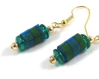 Textile Earrings Fiber Earrings Gift for Her Spring Earrings Spring Fashion Dangle Earrings Drop Earrings Fabric Earrings Green Blue OOAK