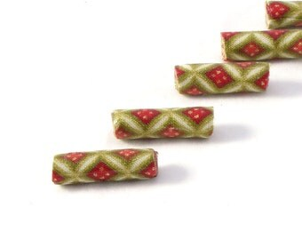 Handmade Fabric Beads Bugle Fiber Beads Multicolored Beads Large Hole Big Hole Geometric Print  Red Cream and Metallic Gold Summer Christmas