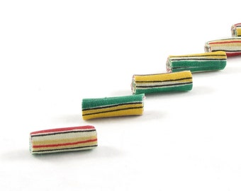 Fiber Beads Textile Beads Fabric Beads with Stripes in Green, Yellow, White, and Red with a Hint of Black