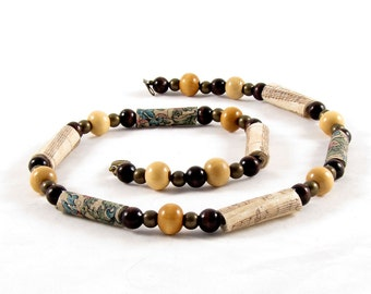 Beaded Necklace Fiber Necklace Textile Necklace Gift for Her Brown Necklace Fabric Necklace Spring Necklace Summer Necklace Fabric Beads
