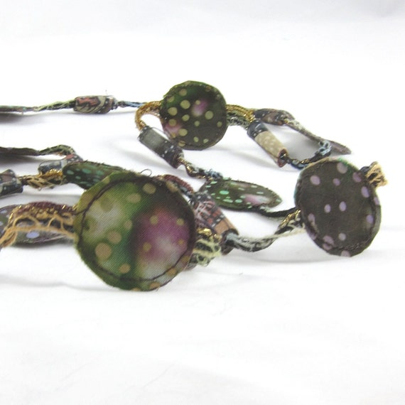 Sale-Fiber Necklace Textile Necklace in Brown and Mossy Green with Purple, Turquoise, and Caramel Disk withTube Beads
